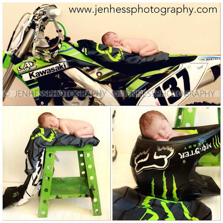 Motocross Newborn Photography - Motocross daddy loves his motocross baby! Racing Baby Boy. Baby on Dirt bike. {www.jenhessphotography.com} Newborn Portraiture  This will be my kid