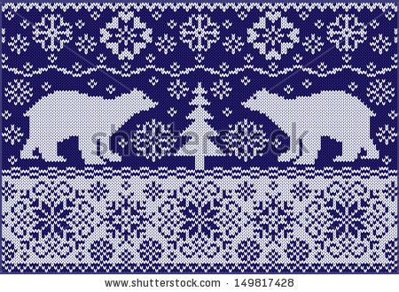 Knitted ornament with bears - fashionable northern pattern - free download