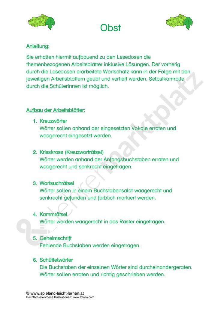 The 43 best Unterrichtsmaterial zu Obst & Gemüse images on Pinterest ...