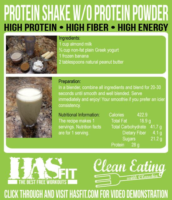 Clean Eating with Claudia demonstrates how to make a protein shake without protein powder. HASfit's protein smoothie without protein powder ...
