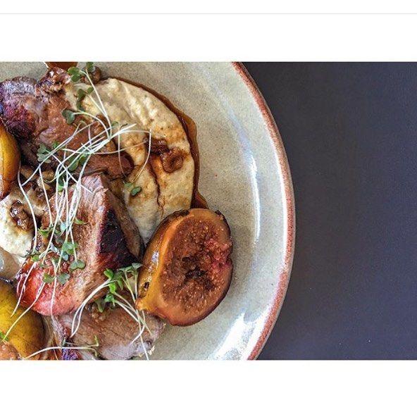 Pork fillet medallions w/ poached fig, pickled walnuts & celeriac purée @publiccbd image by @mr_juliachild  #publiccbd #porkonyourfork #figs #lunch #adelaide #franklinst