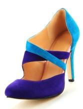 Purple Color Blocking Sheepskin Suede Womans High Heels