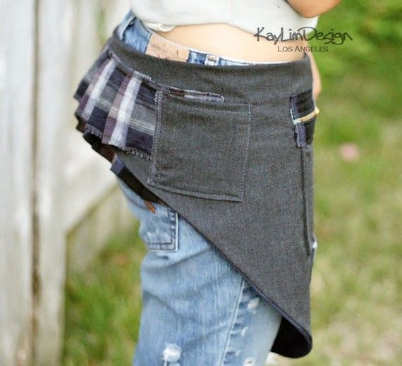 pig ring Hip pouch   Waist bag in Gray and Navy plaid KHB025 por KayLim