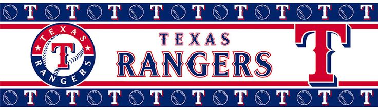 """MLB Texas Rangers Wall Border. Wallborder is vinyl peel-and-stick and packaged in rolls of 5""""H x 15'L. Wash with mild soap and water."""