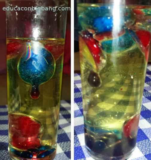 Flotabilidad y densidad con hielo agua y aceite