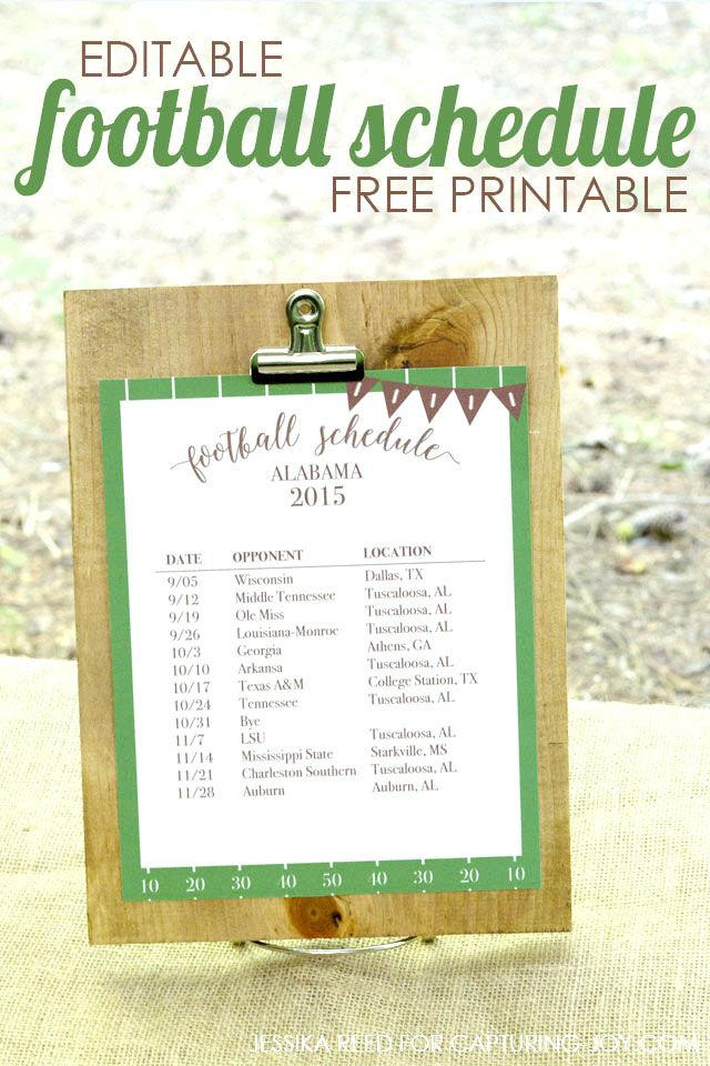 Free printable and editable football schedule-perfect for game day!  Capturing-Joy.com
