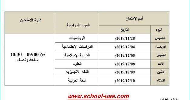 متابعى موقع مدرسة الامارات ننشر لكم جدول الامتحان الوزارى للصف الثالث الفصل الدراسى الأول 2019 2020 وفقا لمنهاج وزارة التربية والتعليم بد Exam Bar Chart Chart