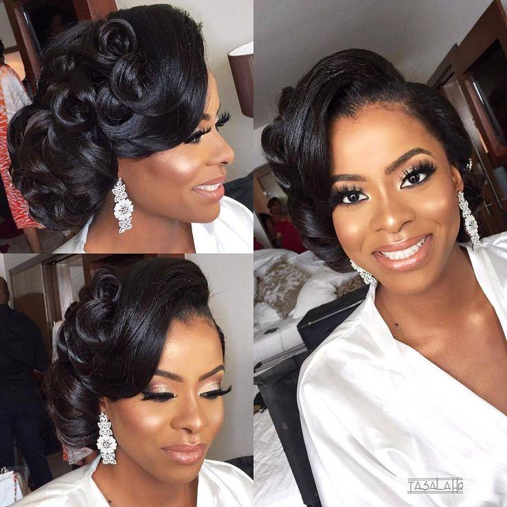 Ghanaian Bridal Styling With Straight Hair: She's Got That Bridal Glow! Congrats @margaretodunukwe