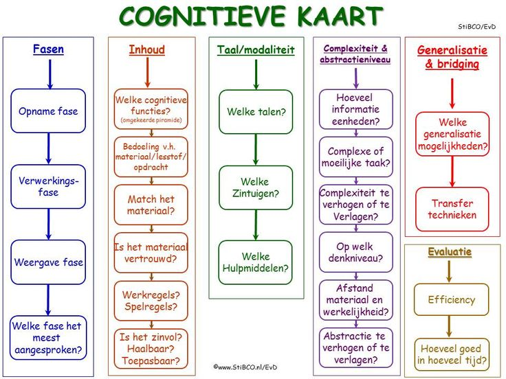 De cognitieve kaart een hulpmiddel om lesstof, taken, opdrachten, spelen etc. te analyseren t.b.v. de cognitieve functies, executieve functies en metacognitie. StiBCO