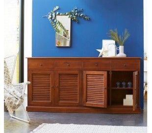 Sideboard i lakeret mahognitræ med 4 skabe og 4 skuffer