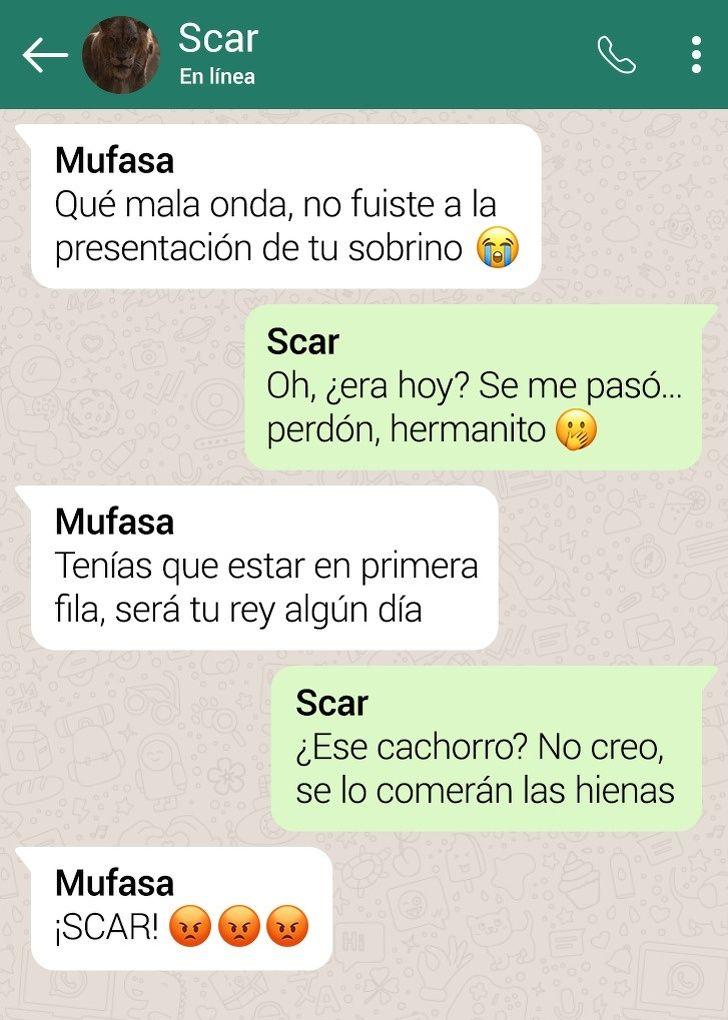 Asi Serian Las Conversaciones Entre Los Personajes De El Rey Leon Si Tuvieran Whatsapp Mensajes De Texto Graciosos Personajes De El Rey Leon El Rey Leon