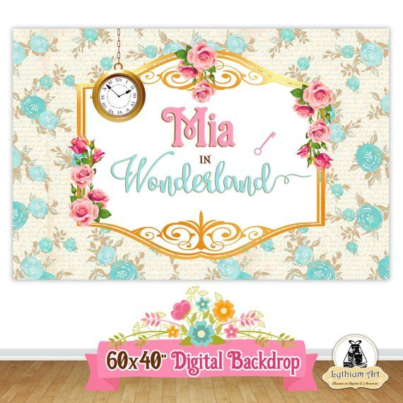 photograph relating to Printable Backdrop known as ALICE Inside of WONDERLAND Backdrop, Alice within just Wonderland Printable