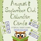 August / September Owl Calendar Cards and Headers (Back to School Theme)