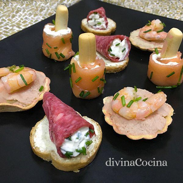 Hamos preparado esta bandeja de aperitivos con 3 canapés fáciles y rápidos muy vistosos y festivos, con ingredientes sencillos y llenos de color y alegría.
