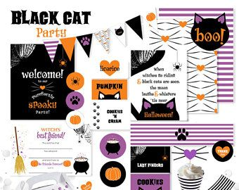 Black Cat Halloween Party Printable Package
