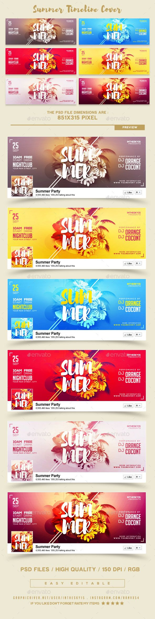#Summer FB Timeline Covers - #Facebook Timeline Covers #Social Media Download here: https://graphicriver.net/item/summer-fb-timeline-covers/20472189?ref=alena994