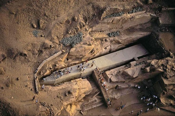 This obelisk initially began to be carved out straight out of a rock face, but then it appears that it began to crack. It was left in this condition, unfinished. It's size is simply staggering!