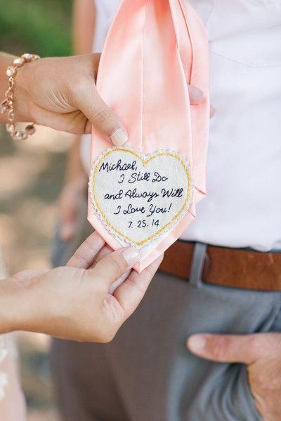 The groom's tie embroidered with a special wedding day message! @katelyn_james