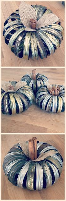 DIY pumpkin, fall décor, mason jar lids, mason jar band pumpkins, cinnamon sticks, burlap, crats, Popular with the Poplins