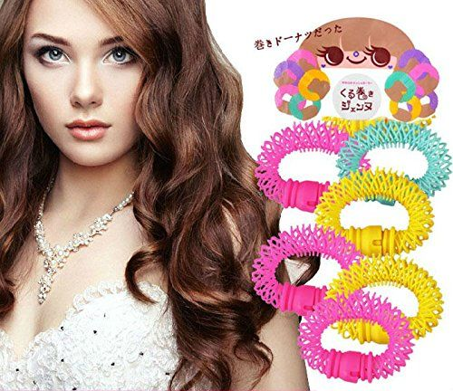 AKOAK DIY Salon Accessory 6 Pcs Magic Doughnut Donut Sticks Rollers Circle Spiral Plastic Hair Curly Curler Curl Roll Ringlets Wave Hairdressing Care Hairstyle Maker Styling Tool(Large)