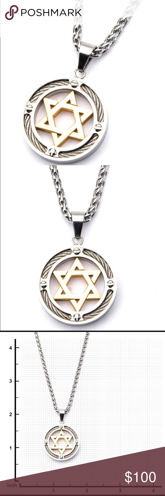 """Steel Gold Star of David Cable Inlayed in Circle Item details Jewish Star, Steel Gold IP Star of David with Cable Inlayed in Circle Pendant .Men's Stainless Steel Gold IP Star of David with Cable Inlayed in Circle Pendant with 20"""" Chain.                                                                         Item overview Handmade item Primary color: Silver Materials: sterling silver Accessories Jewelry"""