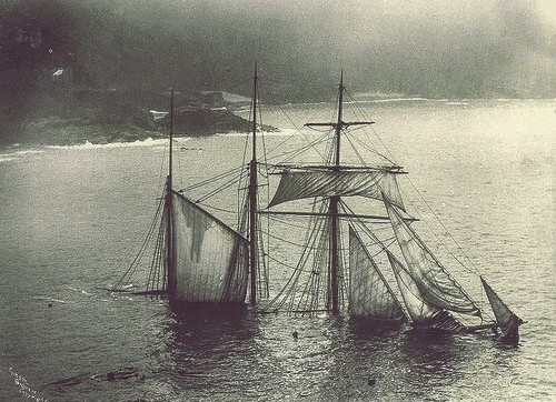 'Mildred' struck under Gurnards Head in thick fog at midnight, 6 April 1912. She was carrying slag from Newport to London. When she began to pound broadside on, the captain and crew launched a boat and rowed along the cliffs to St Ives. The 'Mildred', Cornish built and owned, was launched in 1889.