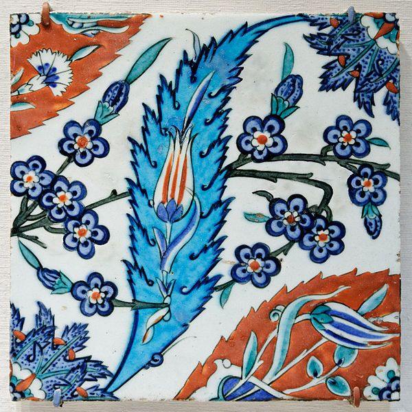 Tile with saz leave, tulips, and hyacinth flowers. 16th century.Metropolitan Museum