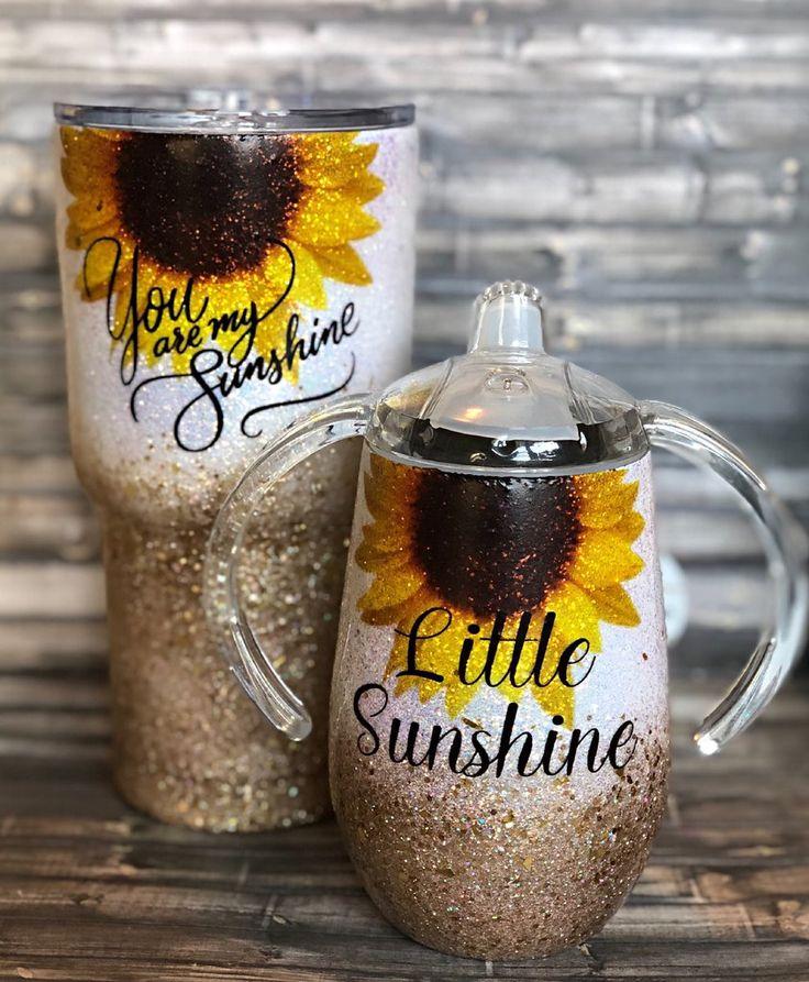 You Are My Sunshine Sunflower Gold Chunky Glitter Tumbler
