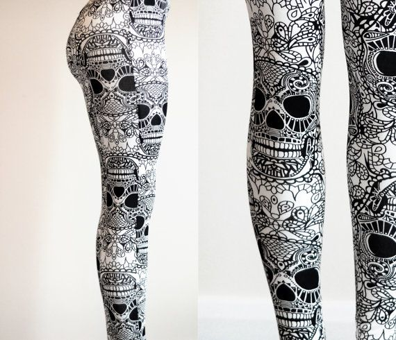Womens Black White Skull day of the dead, dia de los muertos, sugarskull leggings tights