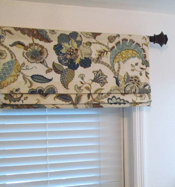 Faux Roman Shade Jacobean Floral Valance By