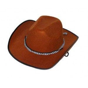 Chapeau cowboy marron homme, accessoire déguisement, fêtes.