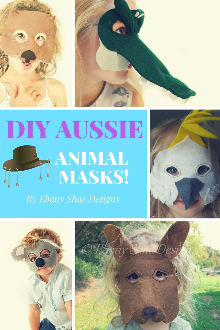 Super cute Australian Animal Costumes.  Masks for kangaroos, platypus, koala, crocodile, great white shark, wombat, cockys and more!