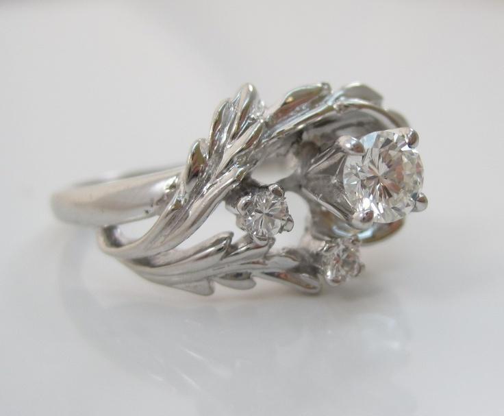 VINTAGE DIAMOND 14K WHITE GOLD ENGAGEMENT RING | eBay