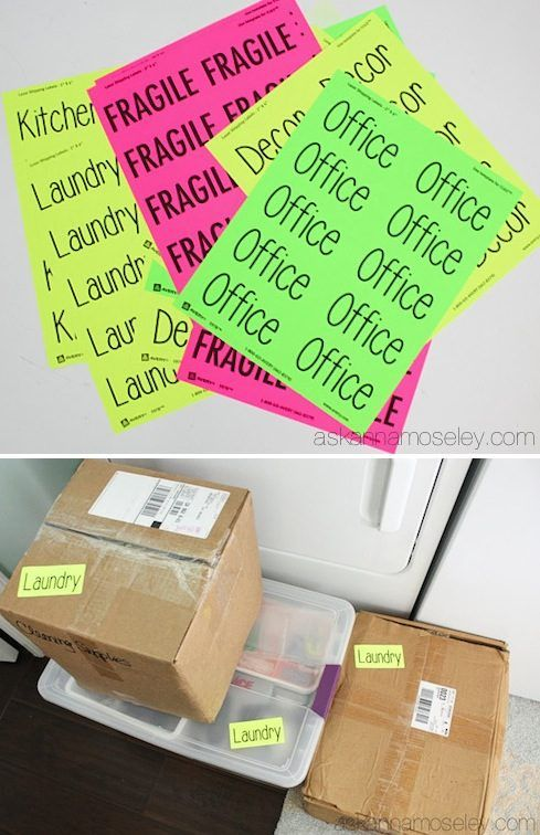 33+ Helpful Moving Tips Everyone Should Know ~ Plan ahead and print out brightly colored labels instead of writing on every box!