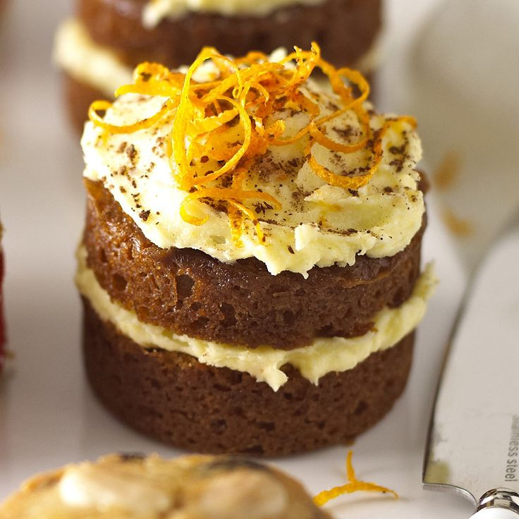 Mini Ginger Cake... A real delicate slightly sticky sponge with a light orange icing! Nice!