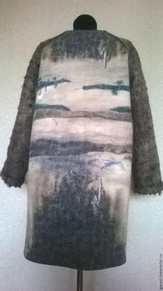 Верхняя одежда ручной работы. Валяное пальто-кокон из флиса ягнят