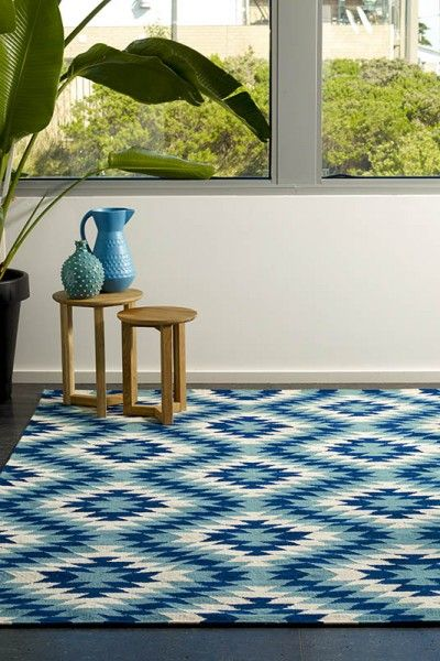 Havana, Seaside - A vibrant sea blue, bright blue and natural white design flatweave NZ wool rug.  Available to see in store now and available to order in the following sizes:  160 x 230, 200 x 290, 250 x 350