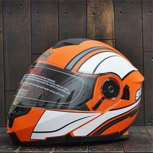 Mũ bảo hiểm lật cằm Royal 912 (cam - trắng)