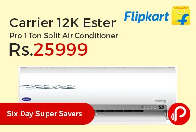 Flipkart #SixDaySuperSavers is offering 30% off on Carrier 12K Ester Pro 1 Ton Split Air Conditioner at Rs.25999 Only. Anti Bacteria Filter, Auto Restart, Copper Condenser, Dust Filter, Dehumidification, Sleep Mode, 1 Year on Complete Unit and 5 Years on Compressor.  http://www.paisebachaoindia.com/carrier-12k-ester-pro-1-ton-split-air-conditioner-at-rs-25999-only-flipkart/