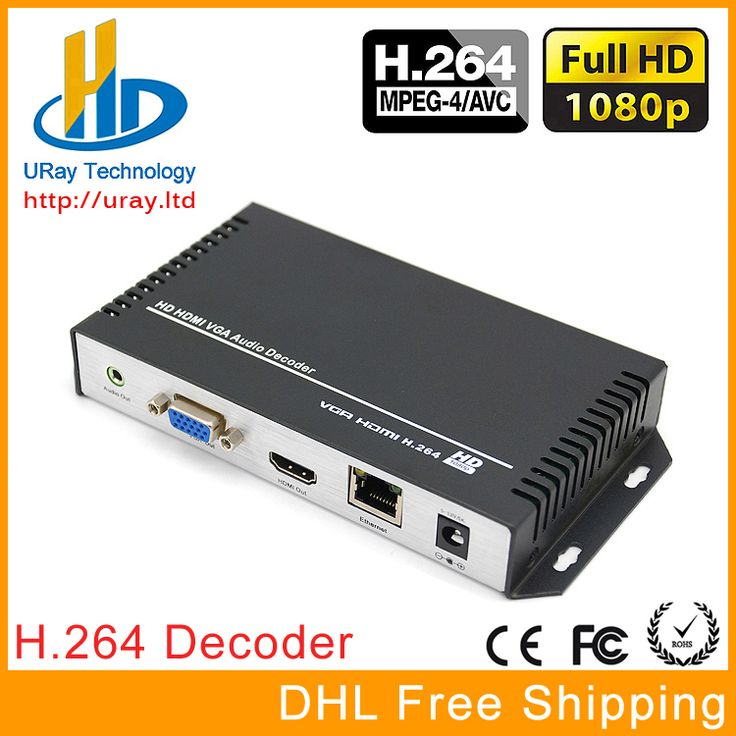 Envío Libre de DHL H.264/H264 HDMI y VGA HD Video Decodificador de Audio Streaming Decodificador Para Decodificar HD Codificador De Vídeo IP Hardware
