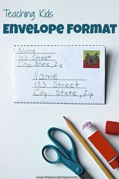 Teach kids proper envelope format this summer with a writing center focused on making, writing and sending mail to family and friends.  Great for preschool, kindergarten and first grade.