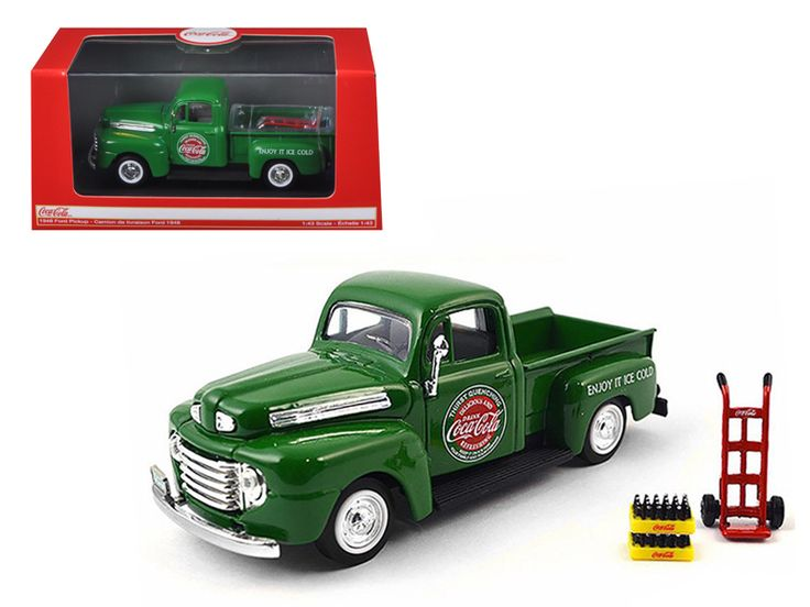 1948 Ford Pickup Truck Coca Cola Green with Coke Bottle Cases and Hand Cart 1/43 Diecast Model Car by Motorcity Classics - Brand new 1:43 scale diecast car model of 1948 Ford Pickup Truck Coca Cola Green with Coke Bottle Cases and Hand Cart die cast car model by Motorcity Classics. Rubber tires. Brand new box. Detailed interior, exterior. Comes in plastic display showcase. Dimensions approximately L-4.5 inches long. Please note that manufacturer may change packing box at anytime. Product…