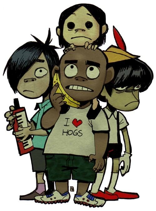When they were kids. Murdoc was in his Pinocchio costume, 2D with his normal eyes and hair color, Russel at a normal size, and Noodle who has just always been adorable.