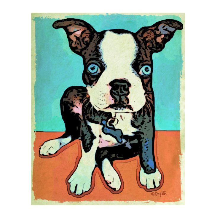 Boston Terrier Whimsical Blue Eyed Dog 8x10 Glicee Print - Blue - Korpita ebsq by korpita on Etsy https://www.etsy.com/listing/172203601/boston-terrier-whimsical-blue-eyed-dog