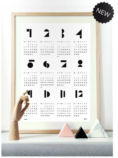 snug. muur kalender poster 2014 wit. Snug wall calendar 2014