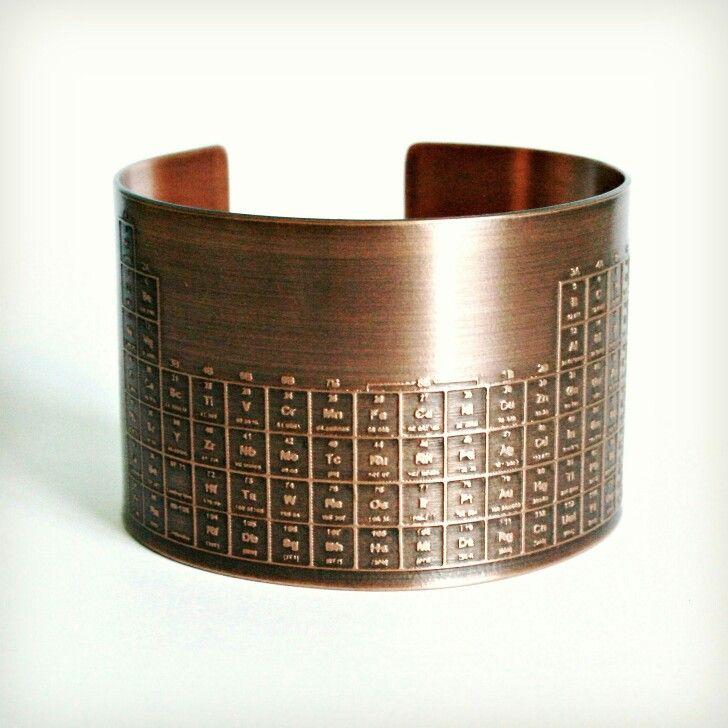 Periodic table copper wrist cuff