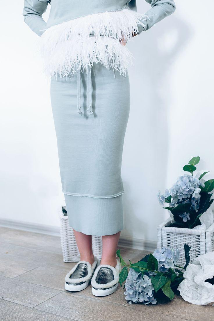 Achers's mint cotton midi skirt #achers#mintskirt#midiskirt#cottonskirt#casualskirt
