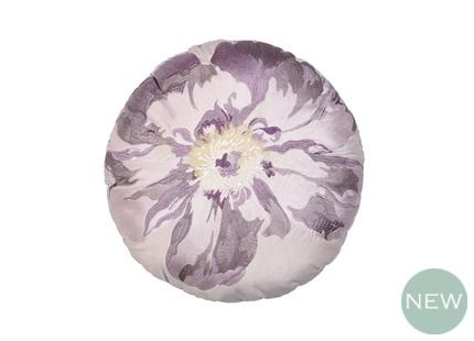 Peony Blossom Round Cushion A perfect finishing touch for our Peony Garden theme, this eye-catching round cushion is designed with a large stylised peony blossom in rich amethyst tones.