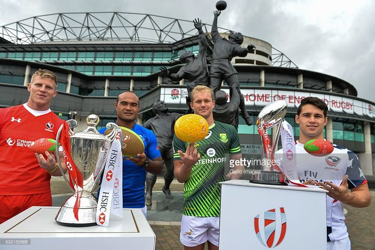 John Moonlight of Canada, Faalemiga Selesele of Samoa, Philip Snyman of South Africa and Madison Hughes of USA during the HSBC London Sevens Captains Photocall session at Twickenham Stadium on May 18, 2016 in London, England.