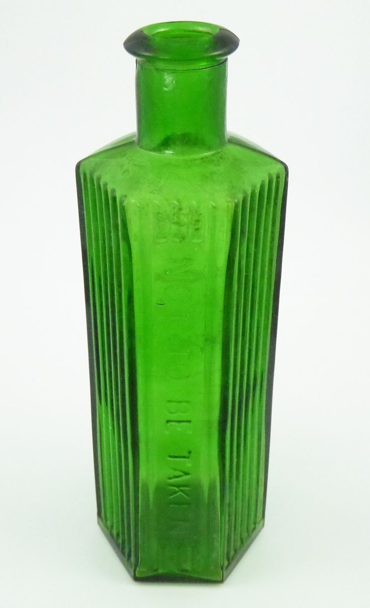Antique 1800s Green Glass Poison Bottle Embossed 'Not to be Taken' 6 Oz ? - The Collectors Bag